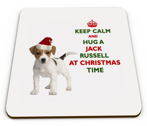 Christmas Keep Calm And Hug A Jack Russell Novelty Glossy Mug Coaster